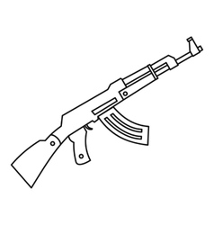 Submachine gun icon outline style vector image