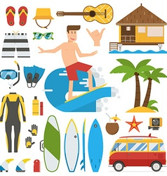 Surfing Time Elements Set vector image