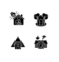 Temporary safe residence black glyph icons set vector