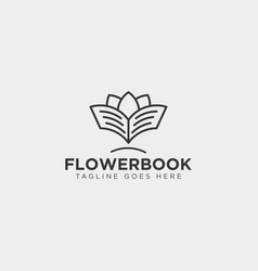 tree plant and flower book education line logo vector image