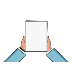 Two hands holding white blank sheet Flat style vector