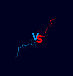 Vs text with red and blue lightning versus battle vector