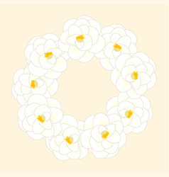 White camellia flower wreath isolated on beige vector