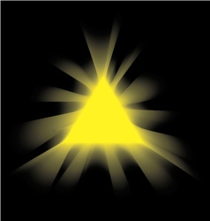 Yellow smoke triangle on a black background vector