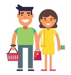 Young couple is reday for a shopping vector