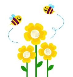 bees flying around flowers vector image vector image