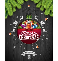 Christmas design on wood background vector image vector image