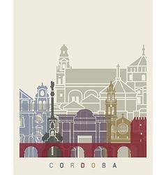 Cordoba skyline poster vector image