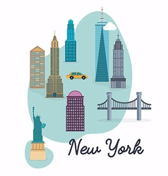 New York City Travel map and landscape of vector image