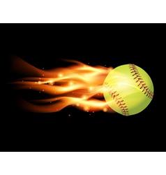 Softball on fire vector