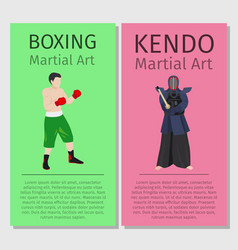 asian martial arts boxing and kendo vector image