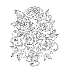 Roses coloring book for adults vector image vector image