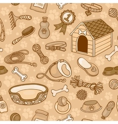 Seamless pattern with accessories for dogs brown vector image