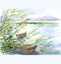 watercolor of rural landscape with vector image
