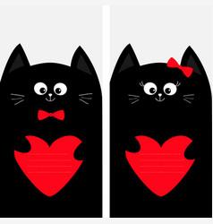 black cat kitty family holding red heart shape vector image vector image