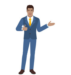 businessman showing thumb up and showing vector image