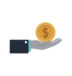 cartoon hand holding coin money image vector image vector image