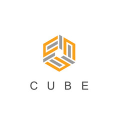 cube line logo vector image