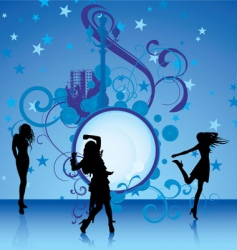 dancing girls on blue background vector image