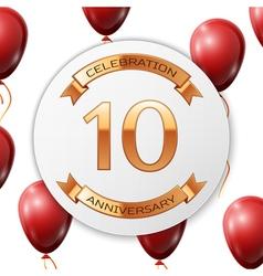 Golden number ten years anniversary celebration on vector image