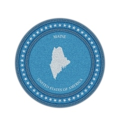 Label with map of maine Denim style vector image vector image