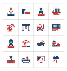 Set color icons of seaport vector image vector image