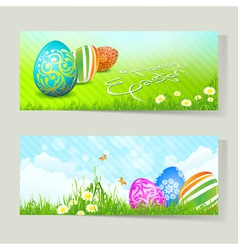 Set of Easter Cards with Decorated Eggs vector image