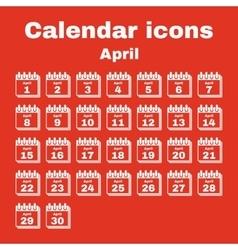 The calendar icon April symbol Flat vector image vector image