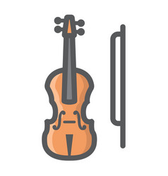violin filled outline icon music and instrument vector image vector image