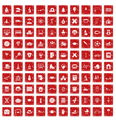 100 kids icons set grunge red vector image vector image