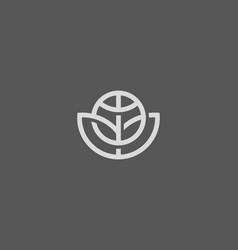 Abstract globe flower logo design global vector