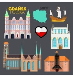 Gdansk Poland Travel Doodle with Architecture vector image vector image