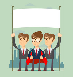 happy business team with a banner vector image