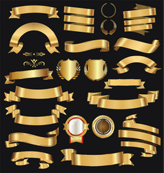 retro golden ribbons and labels collection 2 vector image