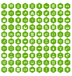 100 business training icons hexagon green vector