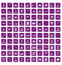 100 craft icons set grunge purple vector