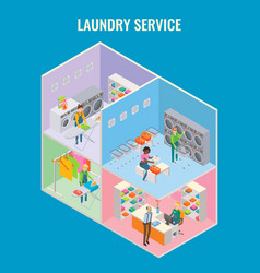 3d isometric laundry service concept vector image