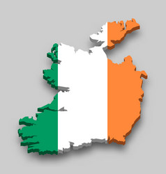 3d isometric map ireland with national flag vector image