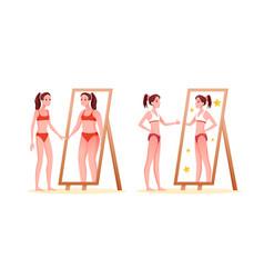 Anorexia eating disorder concept vector