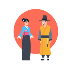 Asian couple wearing ancient costume isolated vector