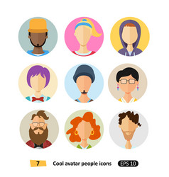 avatars icons flat cool modern style set vector image