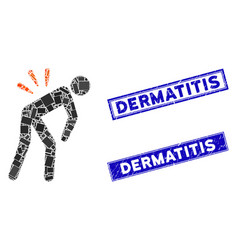 Backache mosaic and grunge rectangle dermatitis vector
