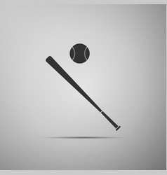 baseball ball and bat icon on grey background vector image
