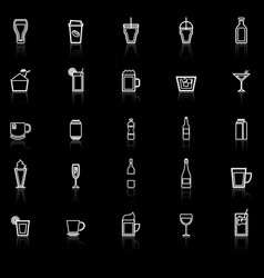 beverage line icons with reflect on black vector image