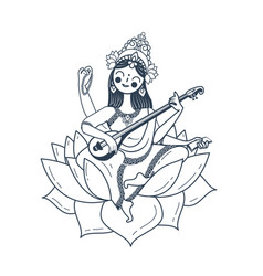 Black and white happy vasant panchami saraswati vector