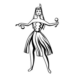 black and white maori girl dancing vector image