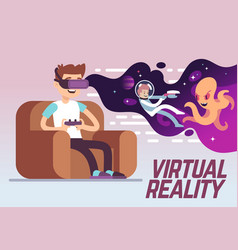 boy with headset playing virtual 3d reality vector image
