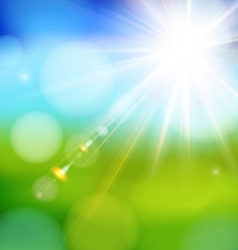 Bright shining sun with lens flare vector