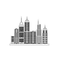 Building towers high town image outline vector
