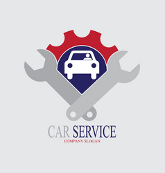 Car service logo with two wrench vector